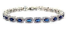Sterling Silver Blue Sapphire And Diamond 14.86ct Tennis Bracelet (925) Free Box