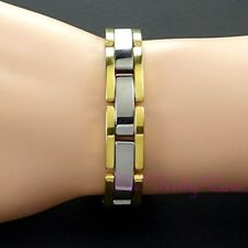 Magnetic Power Tungsten Arthritis Sports Health Unisex 24K Gold Silver Bracelet
