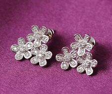 9CT WHITE GOLD FILLED AUSTRIAN CRYSTAL FLOWERS EARRINGS GIFT MOTHERS DAY GIFT WG