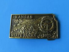 1987 KANSAS STATE PARKS Belt Buckle NEW RARE Camping America's Central Park Camp