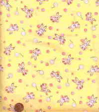 Off to Dreamland yellow pink bunnies cute Exclusively Quilters fabric