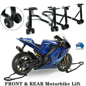 Motorcycle Stand FRONT&REAR Motorbike Lift Paddock Carrier Stands Fork Bike Set