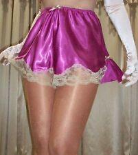 Vtg Style Rose Pink Lace Side Slit Satin Tap Slip Panty Panties Knickers XL