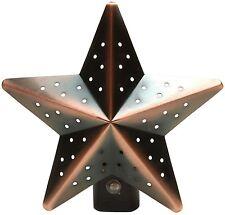 Night Light Tin Star Bronze Auto Photocell Dusk-to-Dawn Sensor Country Primitive
