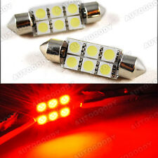 2x Red LED Bulbs 41mm Festoon 5050 Dome Map Cargo Light 578