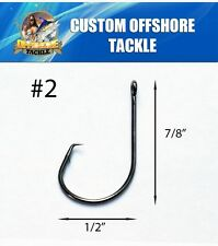50 Size #2 Custom Offshore Tackle Circle Non Offset Inline Hooks 7381
