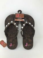 """*New! Womens Justin """"India"""" Thong Flip Flops Brown 5514002 Size 6 C14"""