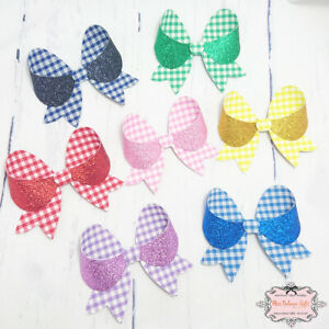 Gingham and Glitter School Hair Bow Clip Navy Pink Red Green Yellow Lilac Blue