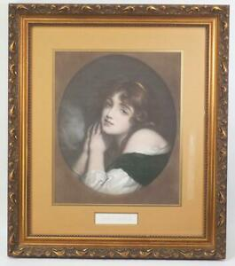 Vintage Framed Lithograph Print Young Woman Innocence Victorian Era Ornate Frame