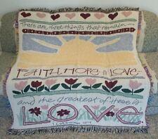 New Faith Hope & Love Spiritual Religious Cotton Afghan Throw Gift Blanket Holy