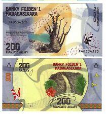 Banknote - 2017 Madagascar, 200 Ariary, P98 UNC, Boaobab Tree (F) Waterfall (R)