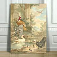 """VINTAGE BIRD ART - Turkey, Chicken & Duck - CANVAS ART PRINT POSTER - 16x12"""""""
