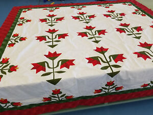 Hand Applique Carolina Lily - QUILT TOP - Queen, Traditional Must See Design