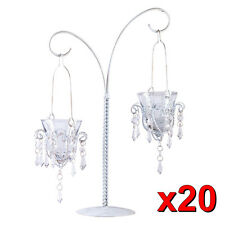 20 wholesale White Crystal beaded chandelier Candle Holder Wedding Centerpiece