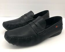 $520 Gucci Black Leather Loafer Driver Shoes logo Mens Sz 11 italy / 12 us