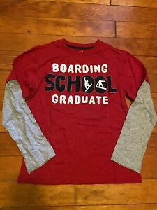 Crazy 8 Snow Days Snowboarding School Red Tee Shirt Top Boys L 10-12 NEW NWT
