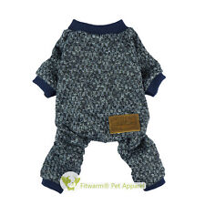 """Fitwarm 16""""Chest Winter Knitted Pet Clothes Jumpsuit Medium Dog Sweater Boy Coat"""