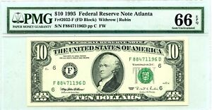 $10 DOLLARS 1995 FEDERAL RESERVE ATLANTA  F 2032 F LUCKY MONEY VALUE $200