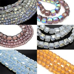 FACETED CUBE CRYSTAL GLASS BEADS 4-10MM FOR JEWELLERY MAKING - PICK COLOUR
