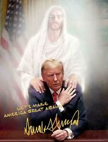 PRESIDENT DONALD TRUMP AUTOGRAPH PRAYING WITH JESUS CHRIST 8X10 PHOTO POSTER