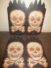 Vintage Halloween Beistle Lantern Paper Cardboard Skull Skeleton Crossbones