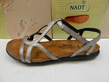 NAOT WOMENS SANDALS DORITH SILVER THREADS LEATHER SIZE EU 38