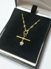 9ct diamond T Bar necklace yellow white gold Singapore chain