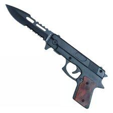 "9""  Black Wood Assisted Hand Pistol Gun Folding Pocket Knife"