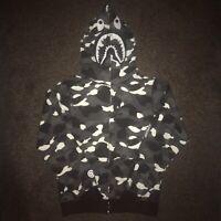 King Kouture Mens Bape Shark Head Hoodie Top in Black Camo
