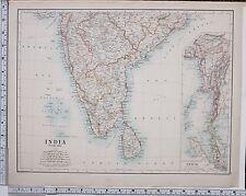 1889 LARGE ANTIQUE MAP ~ INDIA SOUTHERN SHEET CEYLON MAISUR MADRAS NIZAMS