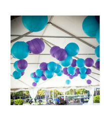 """24pk Party Teal and Purple 12"""" Paper Lanterns Mermaid Birthday Party Decorations"""