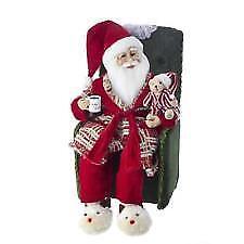 "18"" Kringle Klaus Santa in Pajamas Sitting in Chair Figurine Kurt Adler Design"