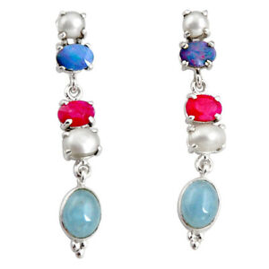 925 Silver 15.11cts Natural Blue Aquamarine White Pearl Dangle Earrings D32295