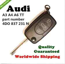 AUDI A3 A4 A6 TT 3 BUTTON FLIP REMOTE COMPLETE KEY  4DO 837 231 A or N