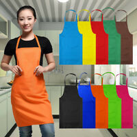 Useful Plain Apron +Front Pocket Chefs Butcher Home Kitchen Cooking Craft Baking