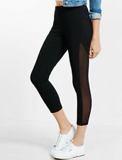 NEW $40 EXPRESS Small Woman's Black Cropped Mesh Stripe Leggings