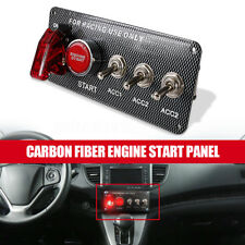 12V Racing Car LED Toggle Ignition Switch Panel Engine Start Push Button Carbon