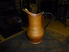 "Vintage Irvine Charm & Design Hammered Copper Pitcher W/ Iron Handle 8"" Turkey"