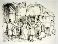 Gravure Pointe seche XIX° Le depart par Norbert Goeneutte / papier Van Gelder