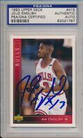 1993 Upper Deck Jojo English Signed Card #415 PSA/DNA Auto Chicago Bulls #1787