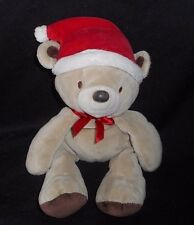 CARTER'S JUST ONE YEAR CHRISTMAS BROWN TEDDY BEAR STUFFED ANIMAL PLUSH TOY RED