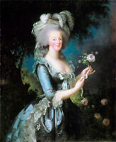 Oil painting Vigee-Lebrun - Marie-Antoinette with the Rose noble lady & flowers