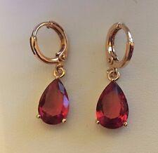 J31 Sim pink tourmaline pear drop 18k yellow gold gf hoop earrings BOXED Plum UK