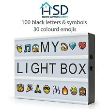 A4 Cinematic Light Up Box 30 Coloured Emojis 100 Black Letters & Symbols LED NEW