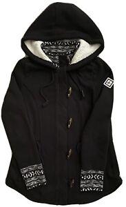 Women Hollister Black Fleece Hooded Zippered Sherpa Lined Jacket Size L