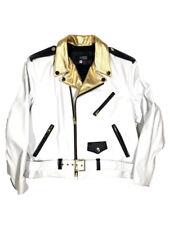 Jakewood Men's White/Gold Lambskin Leather Motorcycle Biker Jacket, Size 2XL
