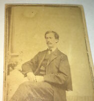 Antique American Civil War Fashion Mustached Gentleman! New York CDV Photo! US!