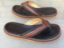 """TOMMY BAHAMA """"Anchors Away"""" Brown Woven Leather Thong Sandals Men's Size 12"""