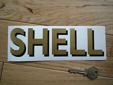 """Shell ombragée texte classique pompes à essence Autocollant 8 """"or & noir course voiture de course"""