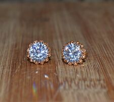 Lovely 18ct/18k Yellow Gold Filled Stud Earrings Made With Swarovski Crystal